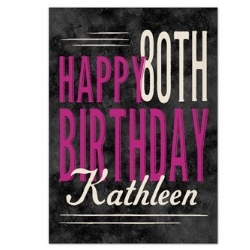 Personalized 80th Birthday Greeting Card - Pink or Teal