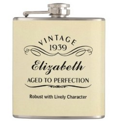 Personalized 80th Birthday Flask for Women
