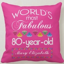 Personalized 80th Birthday Pillow for Women