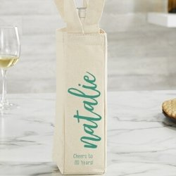 Personalized 80th Birthday Wine Tote - Choice of Colors