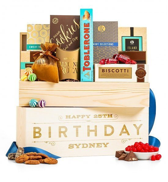 Unique Birthday Candy Gift Basket - Impress someone special with this delightful personalized crate filled with scrumptious candies and cookies!
