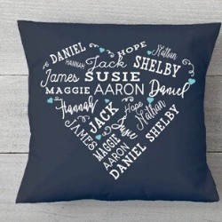 Personalized Pillow with up to 21 Names - 5 Colors