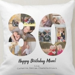 80th Birthday Throw Pillow with Photos