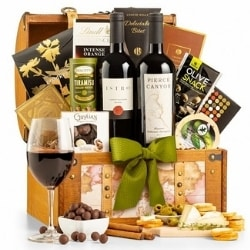 Wine Gift Basket with Personalized 80th Birthday Ribbon