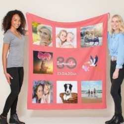 80th Birthday Photo Blanket - Choice of Colors