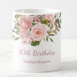 Personalized 80th Birthday Coffee Mug for Mom