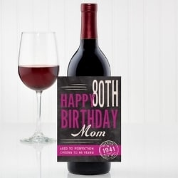 Personalized 80th Birthday Wine Bottle Label