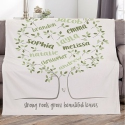 Personalized Family Tree Blanket with up to 25 Names