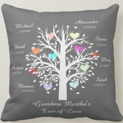 Personalized Family Tree Pillow - Choice of Colors