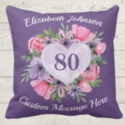 Personalized 80 Heart Pillow - Pink or Purple