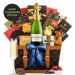 Champagne Gift Basket with Personalized Ribbon - Ships Free