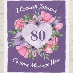 Personalized 80 Heart Blanket  - Pink or Purple