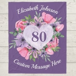 Personalized Purple Floral Heart Blanket