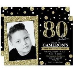 80 & Fabulous Glittery Party Invitation