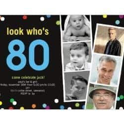 80th Birthday Invitations with 6 Photos