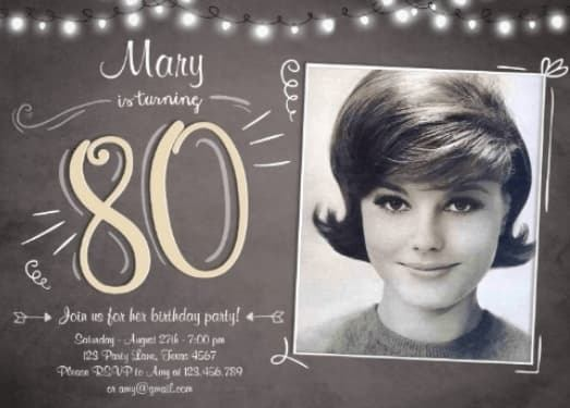 How fun are these 80th birthday party invitations with 1 picture?