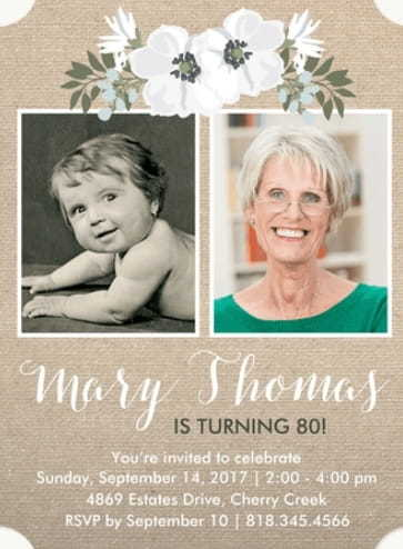 Birthday Party Invitations with Photo - Cute floral invites are perfect for showcasing 2 pictures!