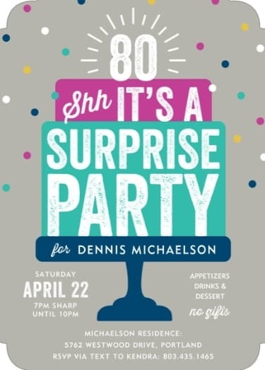 Surprise Birthday Party Invitations - Fun invites feature the birthday number; perfect for any milestone surprise birthday party