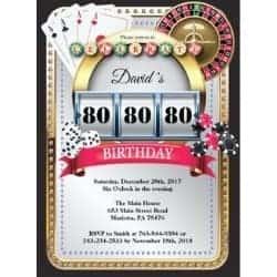 Casino Themed Birthday Party Invitation