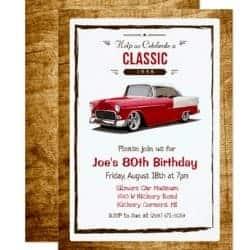 Classic Car 1938 Birthday Invite for a Man