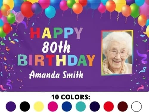Colorful 80th Birthday Banner with balloons, confetti and photo.  Personalize with a unique message.