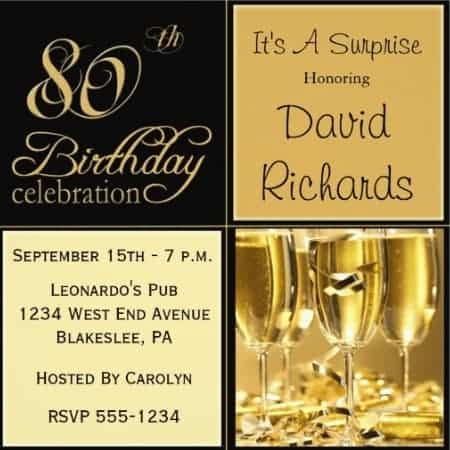 Formal black and gold birthday party invitations feature a fun champagne toast design!