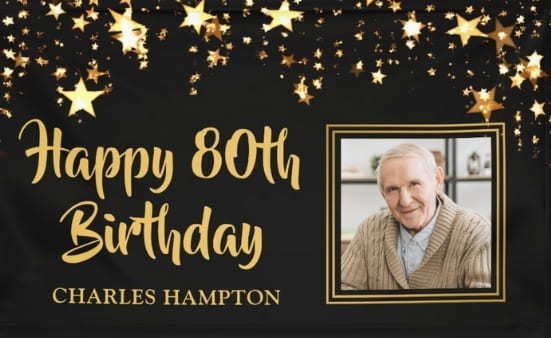 Personalized 80th birthday banner with photo - Striking banner is the perfect addition to your party!