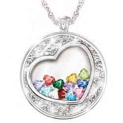 Grandma's Heart Full of Love Floating Birthstone Necklace