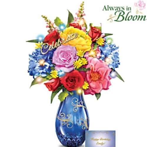 Lovely personalized always in bloom floral centerpiece is a lovely gift for any special birthday!