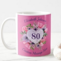 Personalized Floral 80 Mug - Pink or Purple