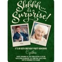 Surprise Party Invitations with 2 Photos