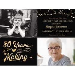 80 Years in the Making Then & Now 2 Photo Invitations