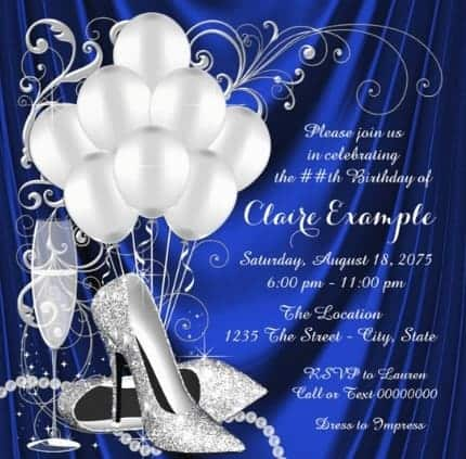 Elegant Royal Blue and Silver Birthday Party Invitations are perfect for a dance party!